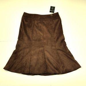 Zac & Rachel Dark Chocolate Midi Skirt Faux Suede
